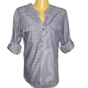IVANKA TRUMP STRIPPED POPOVER SHIRT LARGE